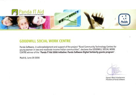 PANDA SOFTWARE INTERNATIONAL, SPAIN PRESENTS THE MOST PRESTIGIOUS AWARD 'INTERNATIONAL SOLIDARITY INITIATIVE PANDA IT AID, 2006 TO GOODWILL SOCIAL WORK CENTRE, MADURAI, INDIA | Introducing Goodwill Social Work Centre,Madurai,India-Inviting Partnership Initiative! | Scoop.it
