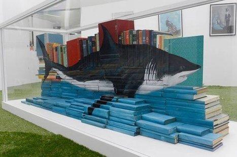 Bookmarking Book Art: Mike Stilkey's Shark Eating Books   Books On Books   Scoop.it