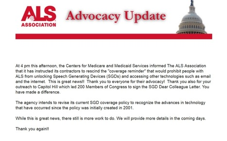 "Medicare and Medicaid Services Rescind ""coverage reminder"" for Speech Generating Devices. Thank You ALSA and Advocates! 