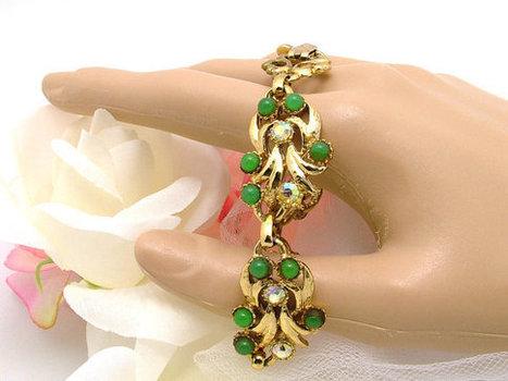 Vintage Bracelet With AB Rhinestones and Jadeite Beads Floral Gold Tone | Beautiful Bargain Vintage Costume Jewelry | Scoop.it