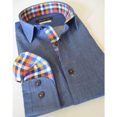Slim Blue jean Men's shirt, blue buttons | checkered inside sleeves and collar | Australia | New Zealand | Style Up This Easter | Scoop.it