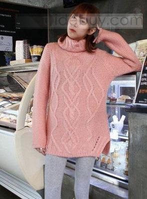Vogue Korean New Arrival Turtle Collar Knit Long Hemp Flower Rhomb Sweater | fashion pants | Scoop.it
