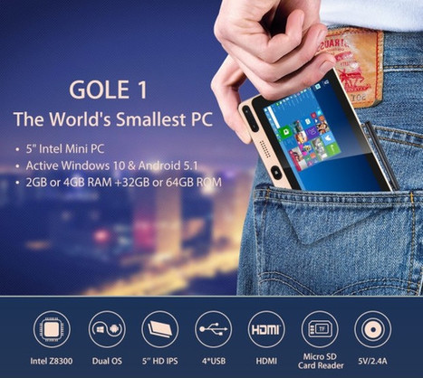 GOLE1 is a $79 Intel Atom x5 Windows 10 / Android 5.1 mini PC with a 5″ Touchscreen Display (Crowdfunding) | Embedded Systems News | Scoop.it