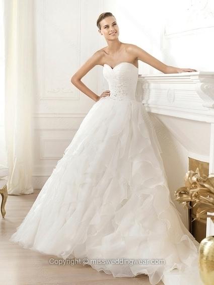 Ball Gown Sweetheart Organza Sweep Train Tiered Wedding Dresses   2014 wedding dress online   Scoop.it