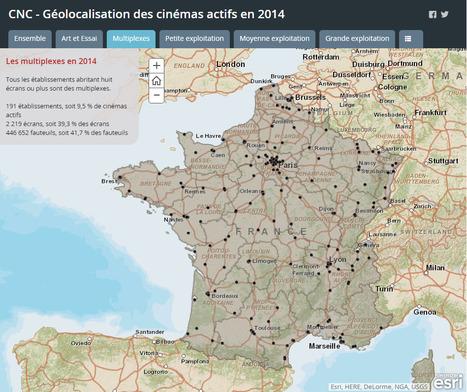 CNC - Géolocalisation des cinémas actifs en France en 2014 | Géographie et cinéma | Scoop.it
