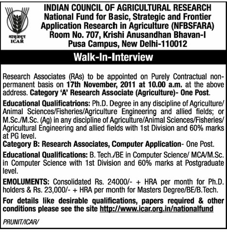 EducationHub.in: Vacancy Of Research Associates At Indian Council Of Agriculture Research | Indian Agriculture | Scoop.it