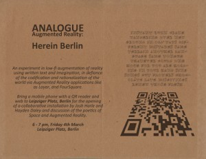 Analogue Augmented Reality: HereIn Berlin | neonascent | Augmented Reality News and Trends | Scoop.it