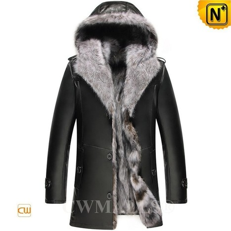 CWMALLS® Hooded Fox Fur Leather Jacket CW836028 | Fur Lined Mens Coat | Scoop.it