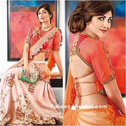 Shilpa Shetty Kundra in Orange Crop Blouse and Lehenga | Indian Fashion Updates | Scoop.it
