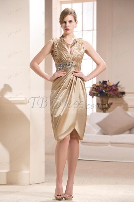 Elegant Beading Sheath/Column V-Neck Knee-length Mother of the Bride Dress | skirt | Scoop.it