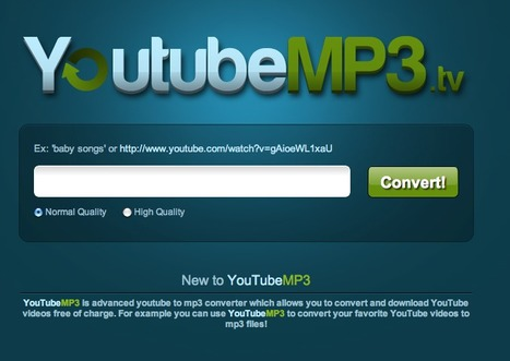 Convert YouTube Videos to MP3 -  YoutubeMP3.tv | Social media and education | Scoop.it