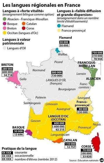 Les langues régionales en France. Une carte bien conçue ! | Fle: Le français autrement | Scoop.it