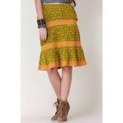 Green & Mustard Lacy Pleat Skirt   Online shopping for women   Scoop.it