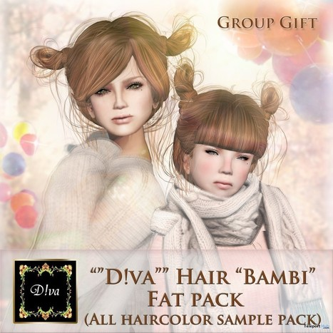 Bambi Hair Fat Pack Group Gift by D!va | Teleport Hub - Second Life Freebies | Second Life Freebies | Scoop.it