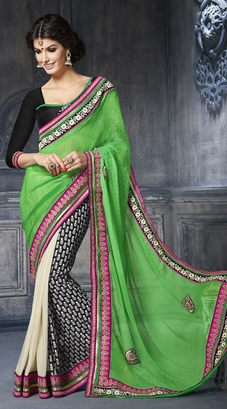 Beautiful cream georgette light green pallu half and half saree