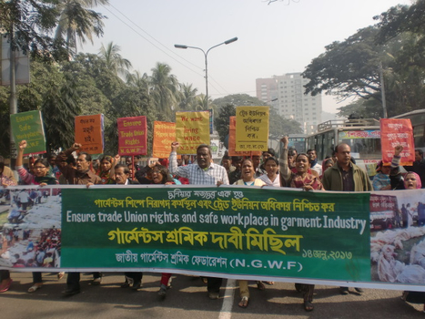 "Garment workers' procession demanding Ensure 'Safe Workplace' & "" Trade Union Rights"" in Garment industry 