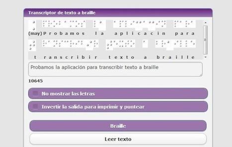 HetaH Transcriptor, utilidad web gratuita para transcribir texto a braille | Biblioteca Virtual | Scoop.it