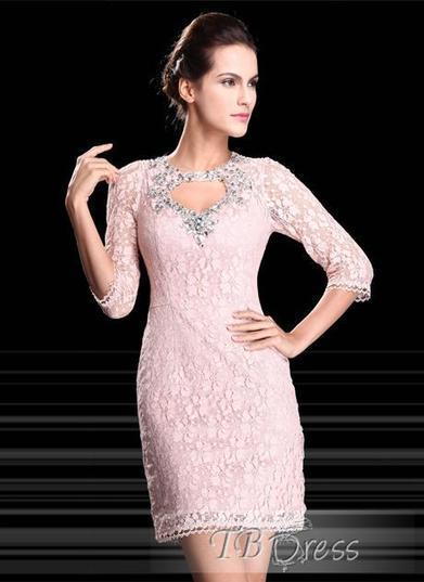 Chic Sheath Lace Crystal Half Sleeves Short-Length Formal/Cocktail Dress | skirt | Scoop.it
