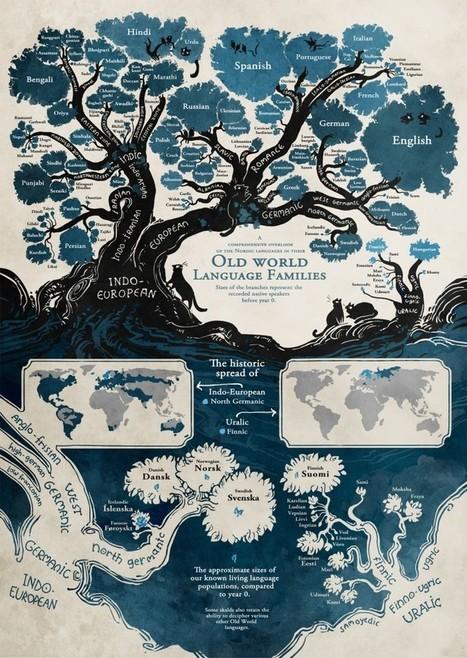 Fantástica representación del origen de las lenguas habladas por la mitad de la población mundial   Language Teaching   Scoop.it
