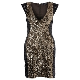 French Connection Moonray Sequins Capped Sleeve Dress Black/Gold | A-TownGirl. | Scoop.it