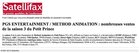 SATELLIFAX   PGS ENTERTAINMENT / METHOD ANIMATION : nombreuses ventes de la saison 3 du Petit Prince   The Little Prince   Scoop.it