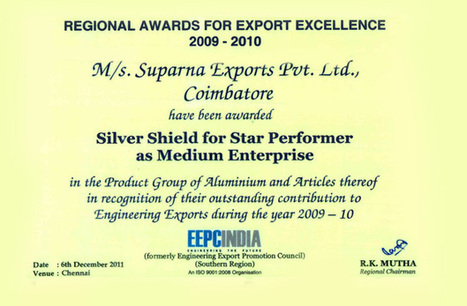 Star Performer | Regional Award Winner for Export Excellence(2009 - 2010) | Aluminum Bottles Manufacturers | Scoop.it