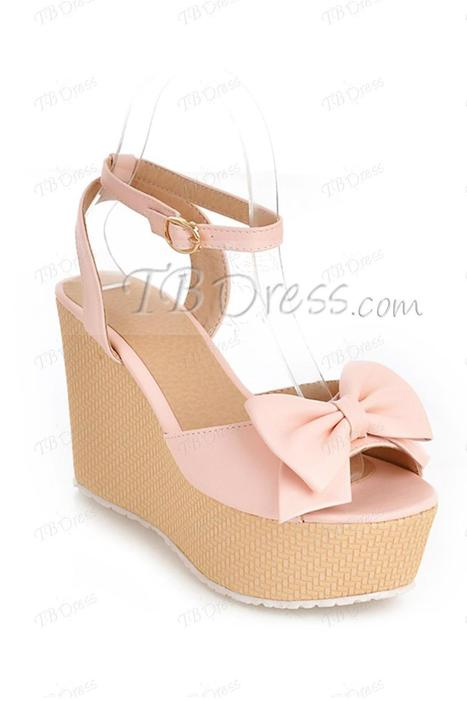 Lovely Peep Toe Bowknot Wedge Heel Ankle Strap Sandals | FASHION-BEAUTY-CLOTHES-GIRL | Scoop.it