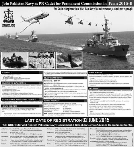 Join Pak Navy as PN Cadet 2015 Online Registration For Permanent Commision Term B | Daily Updates | All Eductional News | Scoop.it