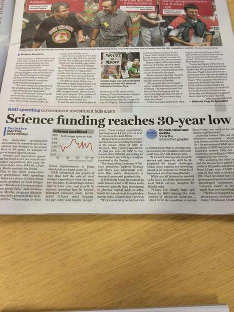"Ben Cubby sur Twitter : ""'Science funding reaches a 30-year-low' - important story today by @ingating and @NickySMH http://t.co/dyt7vJBFre"" 