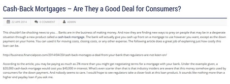 Cash-Back Mortgages – Are They a Good Deal for Consumers? | Gamez Law Firm | Business | Scoop.it