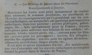 L'engagement des paroisses dans les   « œuvres de guerre ». Présentation de l'enquête du diocèse de 1916 - [Diocèse de Nantes] | Histoire 2 guerres | Scoop.it