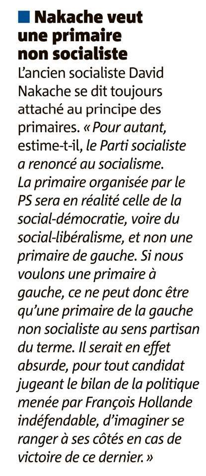 Nakache veut une primaire non socialiste | David Nakache | Scoop.it