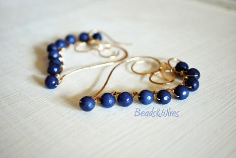 Agata blue intorno ad un cuore dorato... | DIY bijoux & decor | Scoop.it