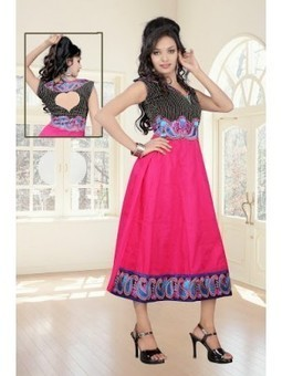 Buy Online Annona Pink And Black Cotton Embroidered Kurti 9840 At Best Price | Online Suit Salwar Kameez |  Suit Price| Suit Sale | Apparel | Women Suit | Scoop.it