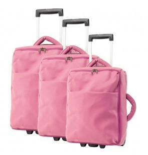 Lot de 3 valises-chariots MICROFIBRE - Rose   comptoirdubagage   Scoop.it