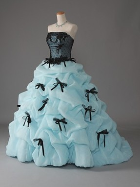 Sky Blue with Black Bows Quinceanera Dress | Modern Quinceanera Dress | Scoop.it