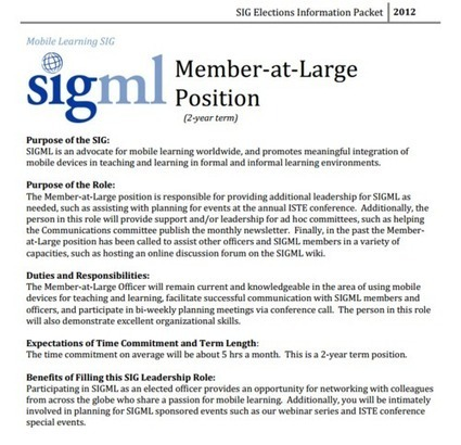 2012 SIGML Officer Positions Available! #edtech #sigml #ipadchat - Change Course Blog | Leadership for Mobile Learning | Scoop.it