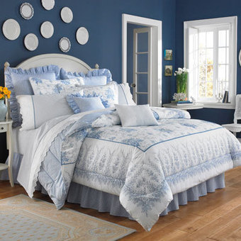 Shop Laura Ashley Sophia Bedding Comforter Set By BeddingStyle | Blue and White Bedding | Scoop.it
