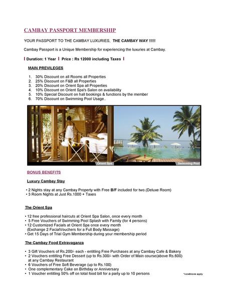 #Cambay Passport is a Unique #Membership for | Cambay Hotels & Resorts | Scoop.it