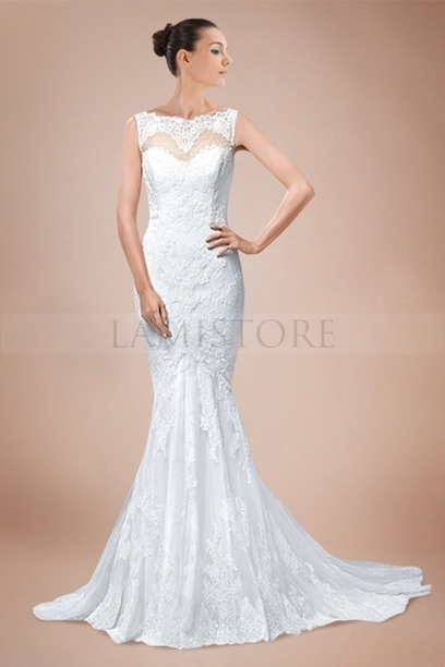 Breath-taking Mermaid Bateau Neckline Wedding Gown with Romantic Lace Cover : Lamistore.com | Lamistore Fashion Prom Dresses | Scoop.it