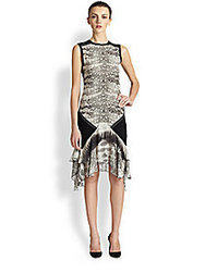Roberto Cavalli - Knit & Silk Chiffon Reptile-Print Dress - Saks Fifth Avenue Mobile | fashion pants | Scoop.it