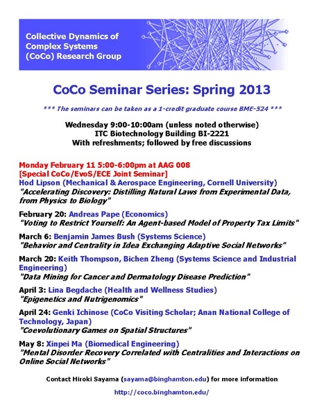 Spring 2013 CoCo Seminar Series Schedule | CoCo: Collective Dynamics of Complex Systems Research Group | Scoop.it