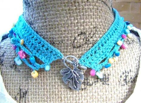 Handmade Aqua Beaded Crochet Necklace with Multicolored Natural Shell Beads Made in USA Free USA Shipping. Youre unique shouldnt your jewelry be | Handmade Quality Items | Scoop.it