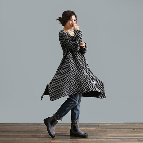 Gray long section of loose knit sweater jacket and long sections pullover Dress  : Robe par ebuicakebs | Ladies Fashion | Scoop.it