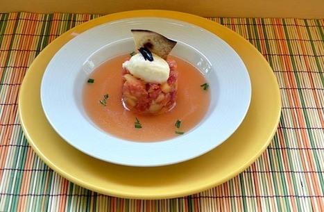 Tomate en texturas con helado de queso y toque de ajo negro, receta paso a paso. | eRanteGastronomia | Scoop.it