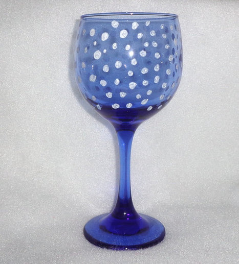 Blue white glass wine glasses winter snow dots hand painted stemware   Christmas Ideas and Gifts   Scoop.it