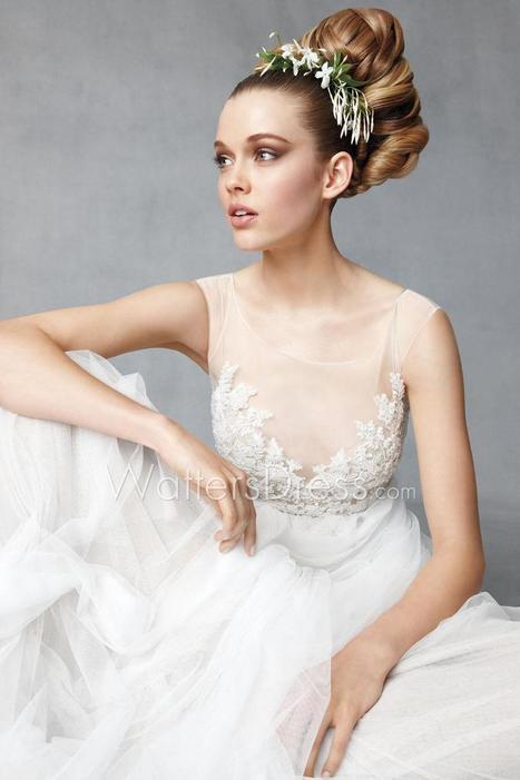Beaded Soft Netting Bateau Illusion Neck Floor Length Designer Wedding Dress | wedding dresses collection | Scoop.it