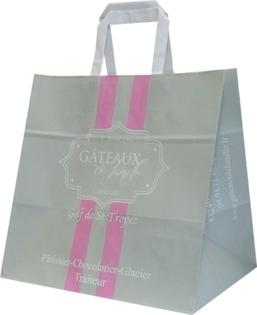 La sac traiteur à poignées plates réalisé pour Gâteaux de Famille   Sac papier publicitaire   Scoop.it