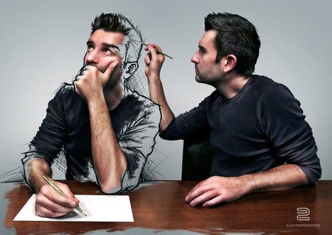 Sébastien mélange la photographie et le dessin pour créer des portraits surréalistes | graphic-design | Scoop.it