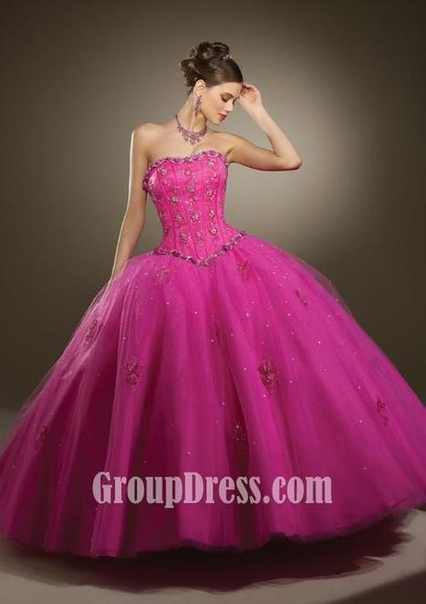 Raspberry Satin and Tulle Embroidered Quinceanera Dress Matching Bolero Jacket | Evening Dress | Scoop.it